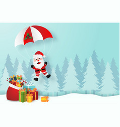 santa claus with christmas gifts in pine forest vector image