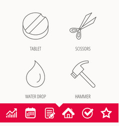 Scissors hammer and tablet icons vector