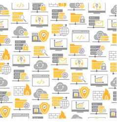 seamless pattern with icons data center vector image