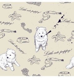 Seamless texture with cute puppies vector