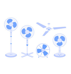 set electric fans various types isolated vector image