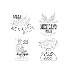 set of 4 hand drawn logos for mexican vector image