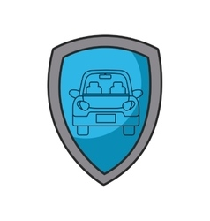 Shield with car icon vector