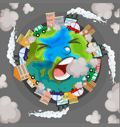 Sick earth from pollution concept vector