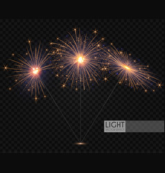 sparcler and firework christmas decoration lights vector image