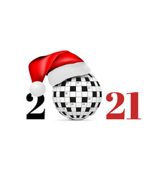 sphere from a crossword grid in a santa class hat vector image