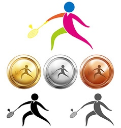 Sport icon and medals for badminton vector image