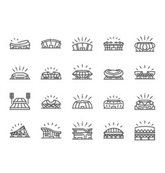 sports stadium line icon set vector image