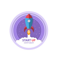 start up take off the rocket symbol of vector image