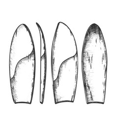 Surfboard in different view monochrome set vector