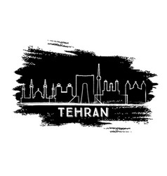 tehran iran city skyline silhouette hand drawn vector image