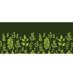 Textured green Leaves Horizontal Seamless Pattern vector image