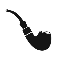 Tobacco pipe icon black simple style vector image