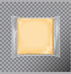Transparent square package with for cheese snacks vector