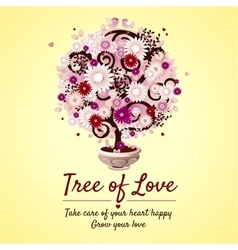Tree of love - romantic gift card vector