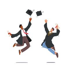 University graduation male characters vector
