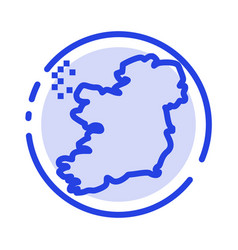 world map ireland blue dotted line line icon vector image