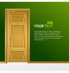 Yellow door in the green wall for text vector