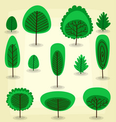 cartoon flat abstract artistic tree template set vector image