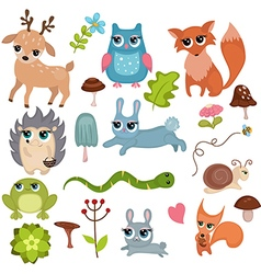 Forest animals set of icons vector image
