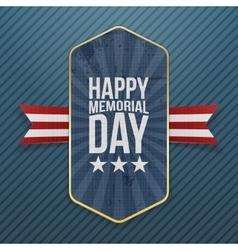 Happy Memorial Day patriotic Label and Ribbon vector image