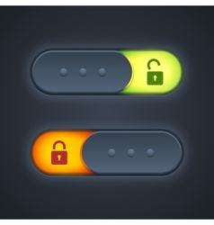 Lock or unlock switcher in 3d style with backlight vector image vector image