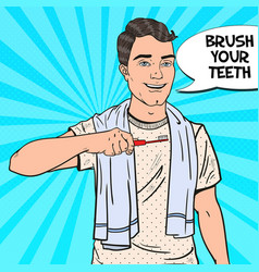 pop art happy man with toothbrush oral hygiene vector image