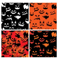 Set of Halloween seamless patterns with pumpkins f vector image