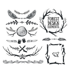 Set of hand drawn tribal frames and dividers vector image
