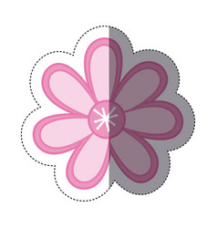 sticker color sketch with pink flower vector image vector image