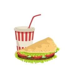 Taco and soft drink street food menu item vector