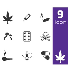 black drugs icons set vector image