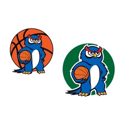 Cartoon blue owl character with basketball ball vector image vector image
