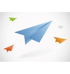 Colorful paper airplanes set vector image vector image