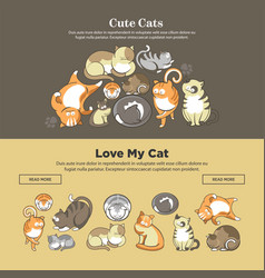 cute cats and kittens pets playing or posing vector image vector image