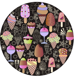 hand-drawn set of-ice-cream cartoon doodle objects vector image