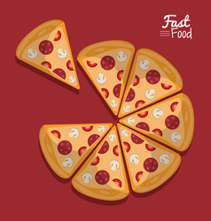 poster fast food in purple background with pizza vector image