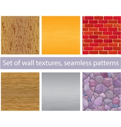 Set of different wall textures - seamless patterns vector image