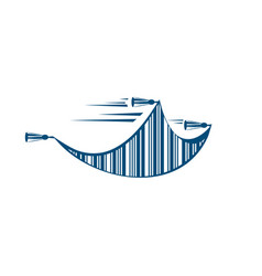 Flying carpet with bar code logo template vector