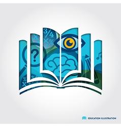 Open book symbol education concept vector