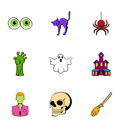 pumpkin icons set cartoon style vector image vector image