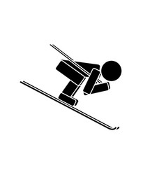 speed skiing flat icon vector image vector image