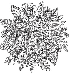 with hand drawn doodle fancy flowers bouquet vector image vector image