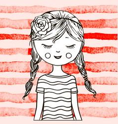 cute teen girl vector image vector image