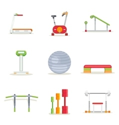 Fitness gym exercise equipment for workout in flat vector image vector image