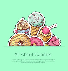 hand drawn sweets vector image vector image