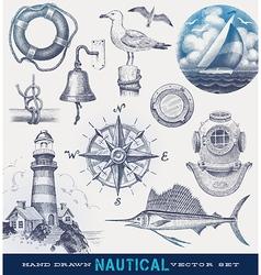 Nautical hand drawn set vector