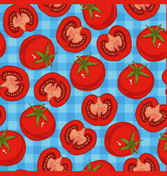 ripe red tomato seamless pattern vector image