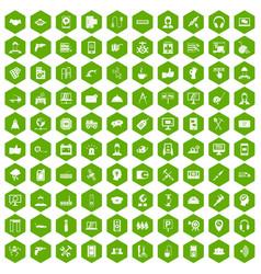 100 support icons hexagon green vector