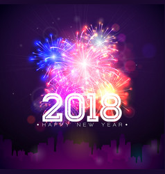 2018 happy new year with firework and vector image